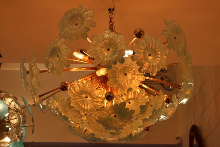 Half Sputnik Chandelier with Murano Glass Blue Flowers For Sale 1