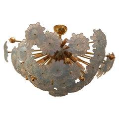Half Sputnik Chandelier with Murano Glass Blue Flowers