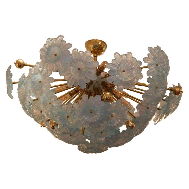 Half Sputnik Chandelier with Murano Glass Blue Flowers For Sale