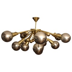 Half Sputnik Mercurised Silver Color Murano Glass Globes Chandelier