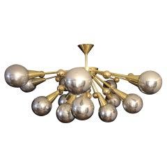 Half Sputnik Mercurised Silver Color Murano Glass Globes Chandelier