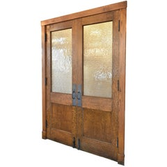 Half View Oak Double Doors