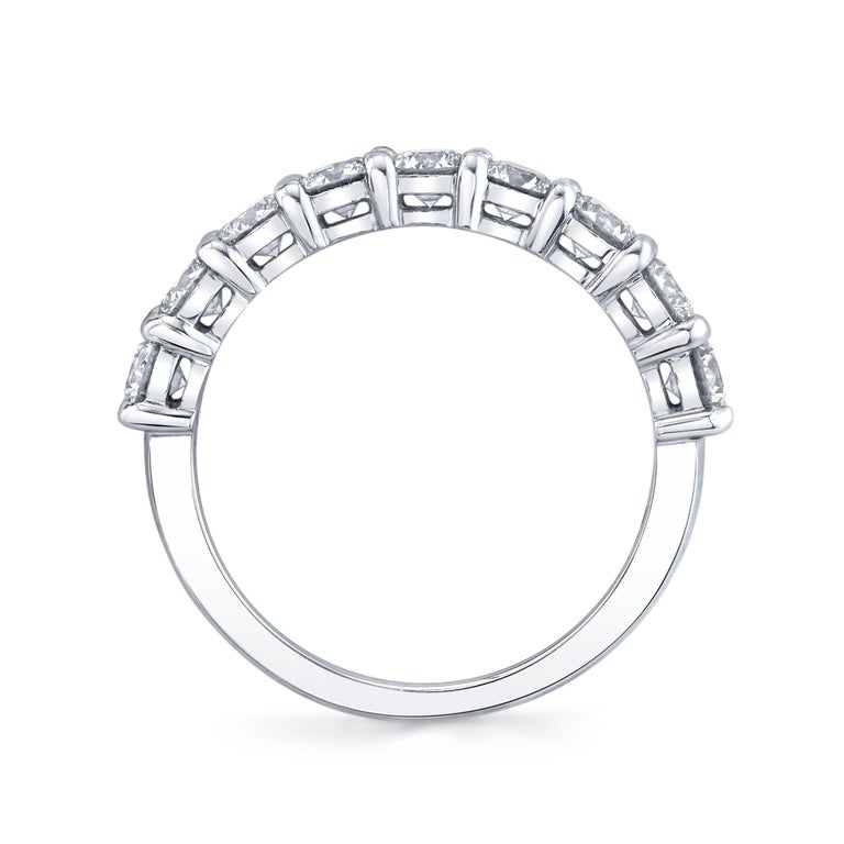 Modern Half Way Eternity Band with Round Brilliant Cut Diamonds For Sale