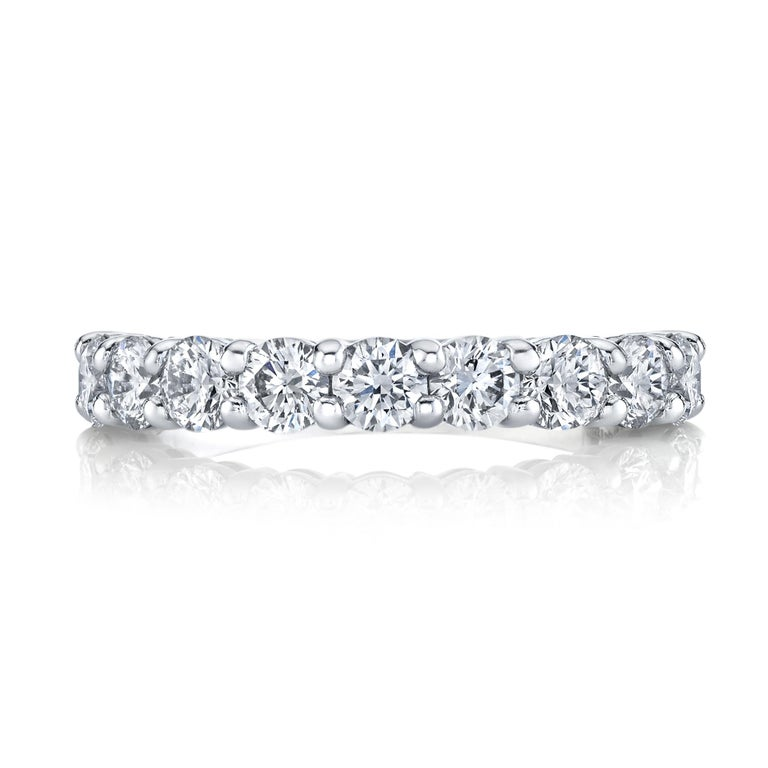 Round Cut Half Way Eternity Band with Round Brilliant Cut Diamonds For Sale