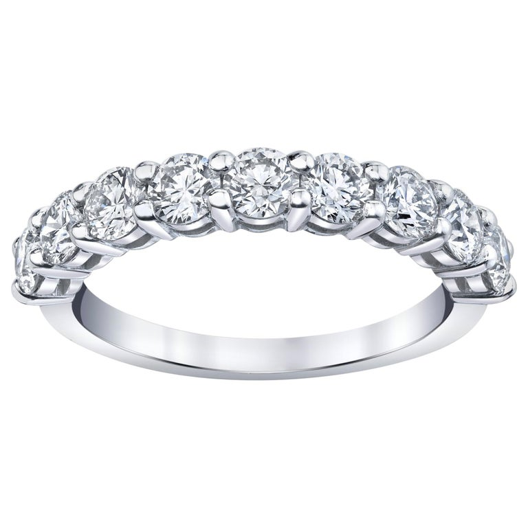 Half Way Eternity Band with Round Brilliant Cut Diamonds For Sale