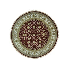 Half Wool and Half Silk Rajasthan Hand Knotted Round Rug