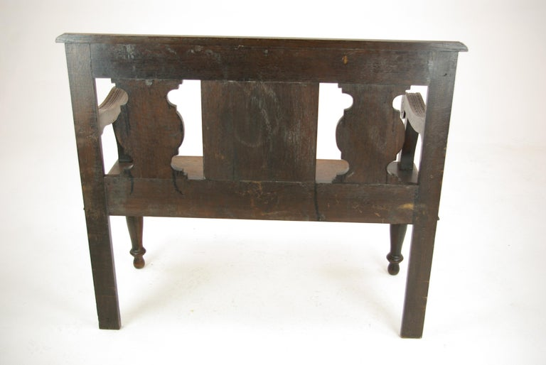 Hall Bench, Hall Seat, Carved Oak Bench, Entryway Furniture, 1880 For Sale 7