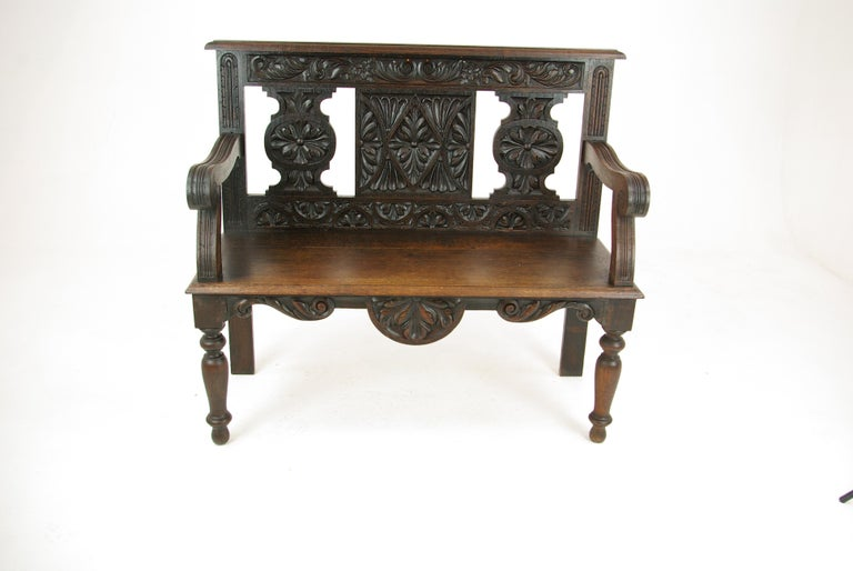 Hall bench, hall seat, carved oak bench, entryway furniture, Scotland, 1880, Antique Furniture, B1181.