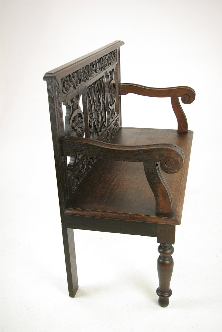 Hand-Carved Hall Bench, Hall Seat, Carved Oak Bench, Entryway Furniture, 1880 For Sale