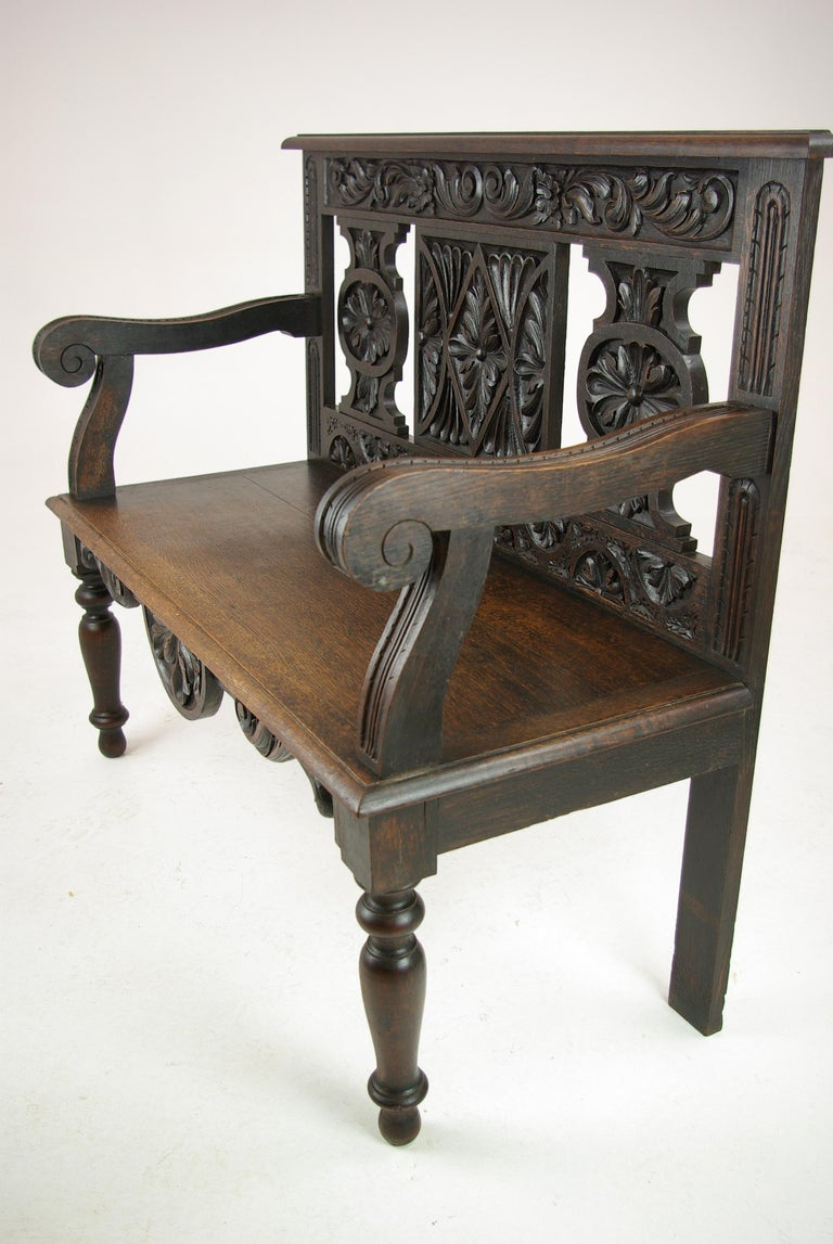 Hall Bench, Hall Seat, Carved Oak Bench, Entryway Furniture, 1880 In Excellent Condition For Sale In Vancouver, BC