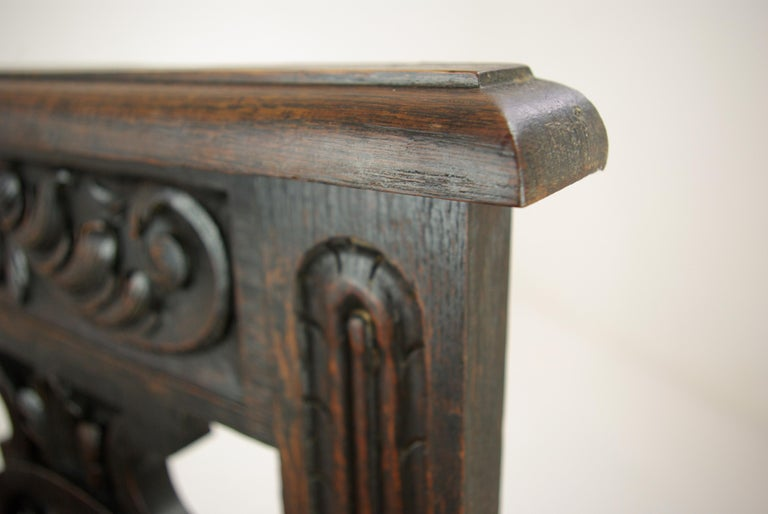 Hall Bench, Hall Seat, Carved Oak Bench, Entryway Furniture, 1880 For Sale 1