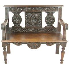 Hall Bench, Hall Seat, Carved Oak Bench, Entryway Furniture, 1880