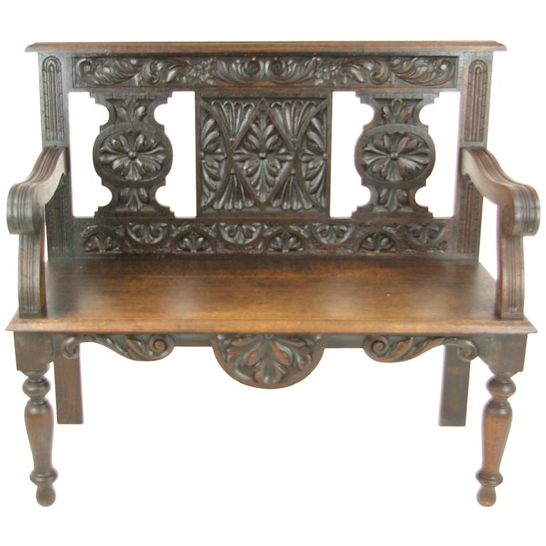 Hall Bench, Hall Seat, Carved Oak Bench, Entryway