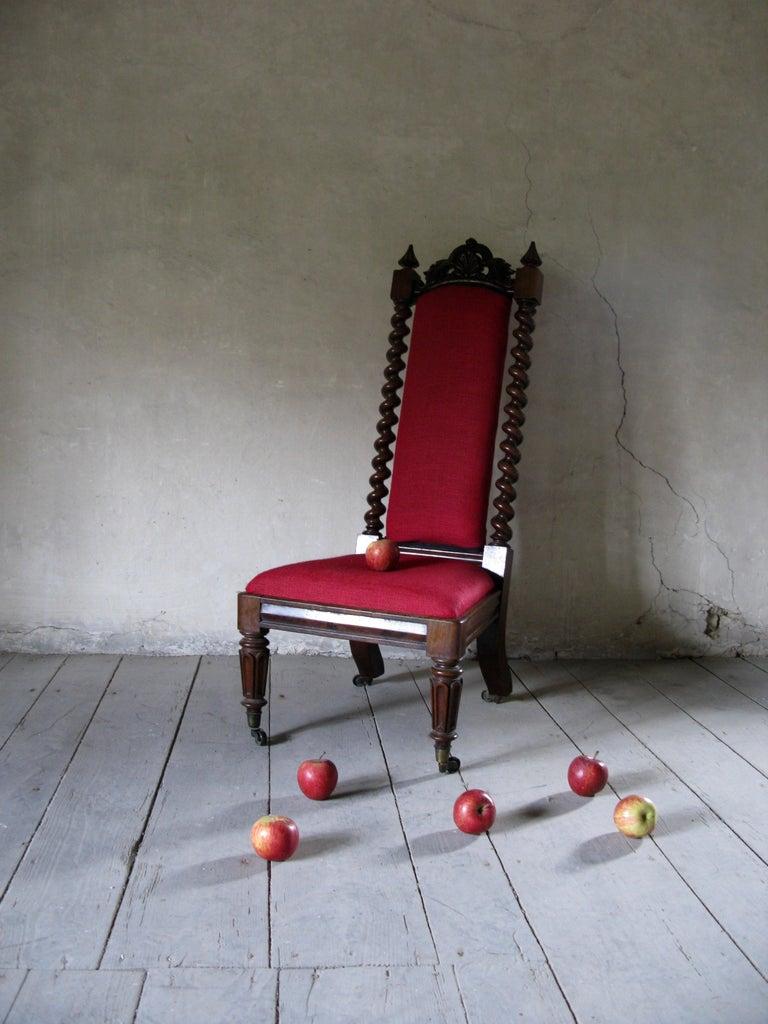 British Hall Chair, Nursing Chair, Bedroom Chair, Bobbin Chair, Mahogany Chair For Sale