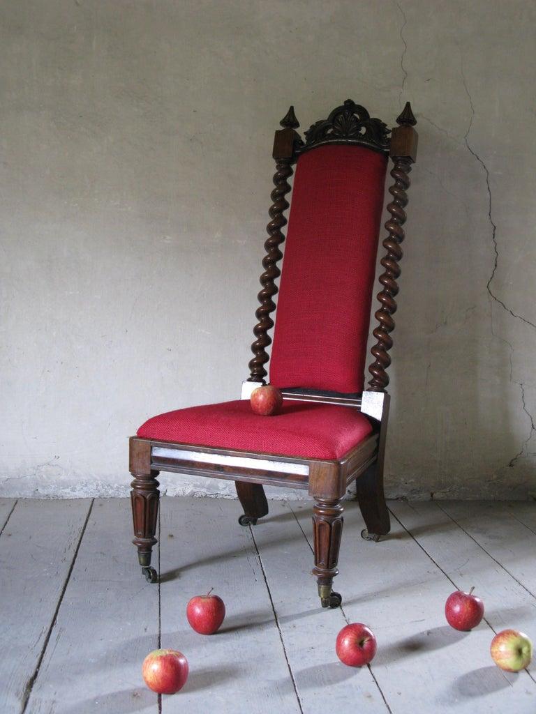 Polished Hall Chair, Nursing Chair, Bedroom Chair, Bobbin Chair, Mahogany Chair For Sale
