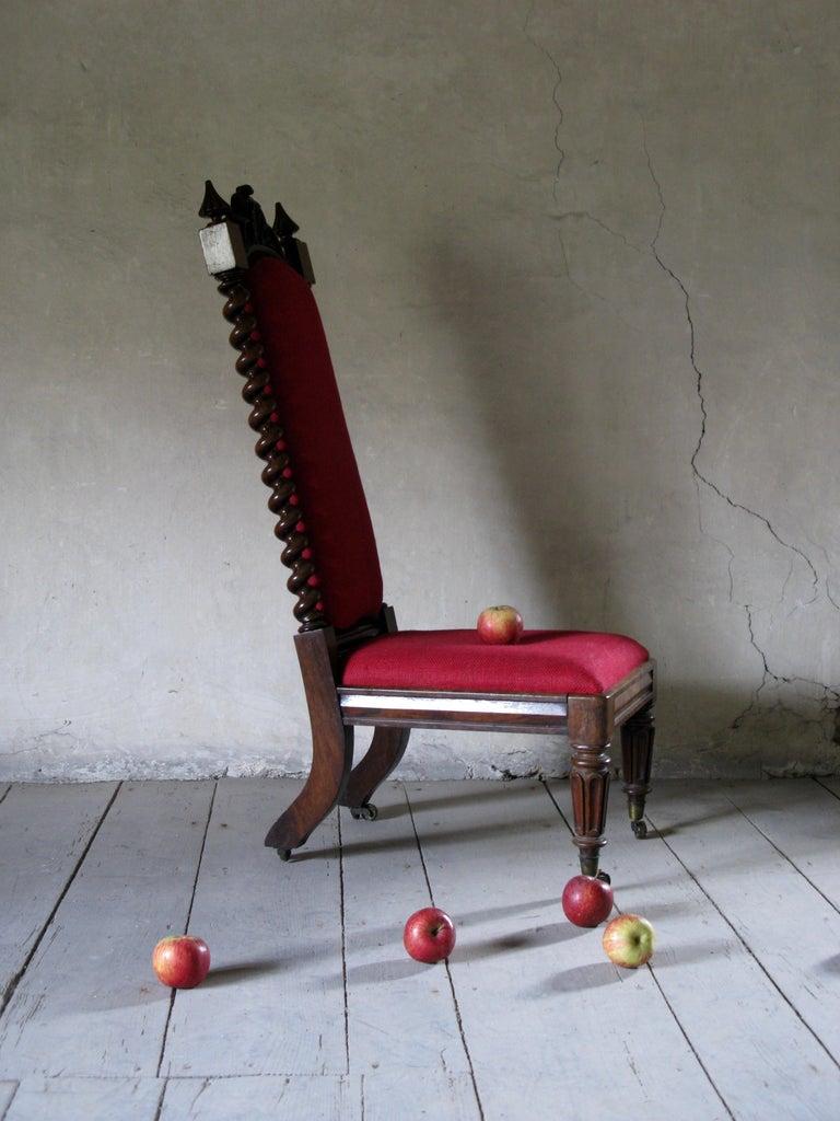19th Century Hall Chair, Nursing Chair, Bedroom Chair, Bobbin Chair, Mahogany Chair For Sale