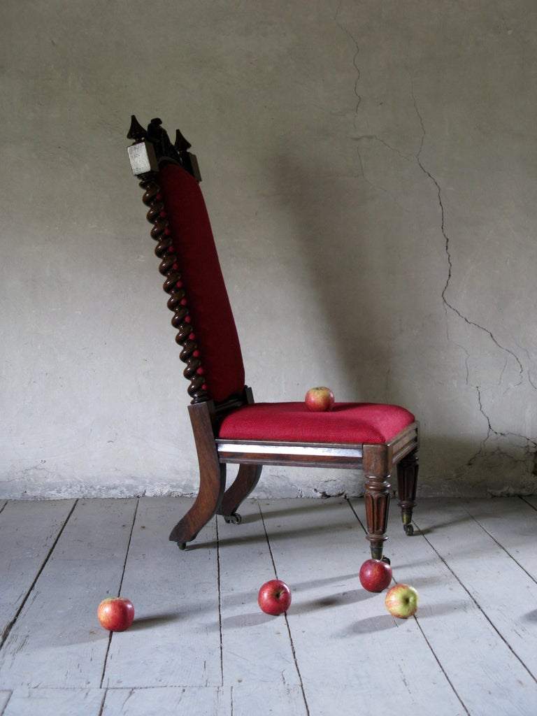 19th Century Hall Chair, Nursing Chair, Bedroom Chair, Bobbin Chair, Mahogany Chair For Sale