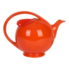 Hall China Company Art Deco Orange Glazed Airflow Shape Lidded Teapot