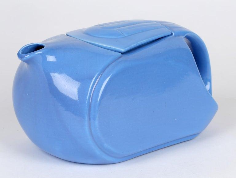 Hall China Company Art Deco Westinghouse Refrigerator Blue Glazed Pitcher For Sale 5