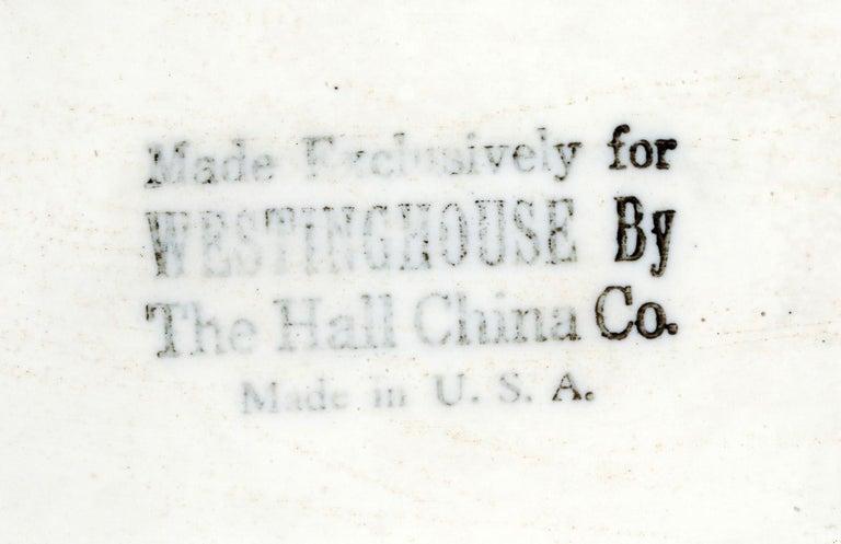 Earthenware Hall China Company Art Deco Westinghouse Refrigerator Blue Glazed Pitcher For Sale