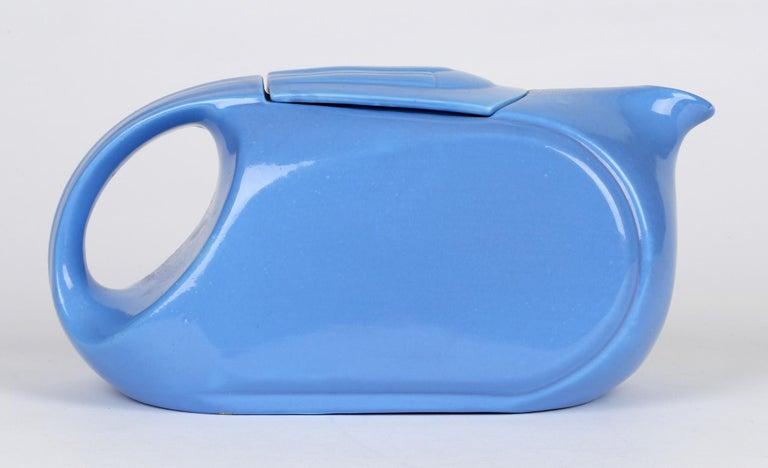 Hall China Company Art Deco Westinghouse Refrigerator Blue Glazed Pitcher For Sale 2