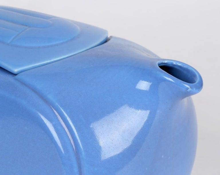 Hall China Company Art Deco Westinghouse Refrigerator Blue Glazed Pitcher For Sale 3