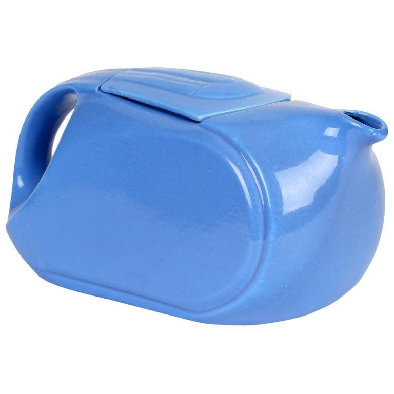 Hall China Company Art Deco Westinghouse Refrigerator Blue Glazed Pitcher For Sale