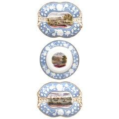 Hall Pâte-Sur-Pâte Serving Pieces with British Scenery, circa 1800