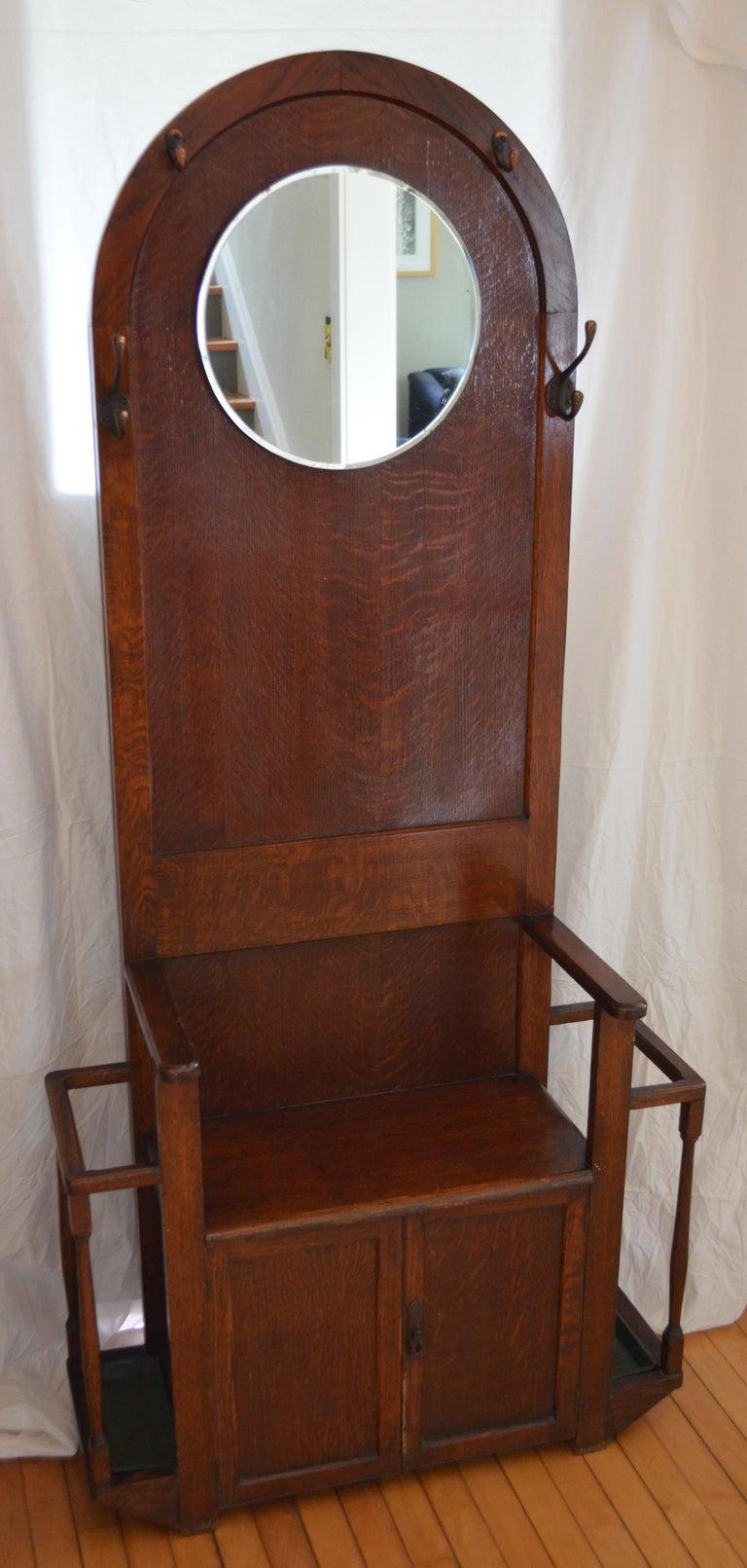 Hall Tree Coat Stand With Mirror Antique Oak Hallway
