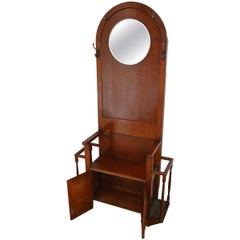 Hall Tree Coat Stand with Mirror, Antique Oak, Hallway Rack