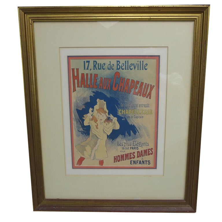 This lovely poster is an iconic image from the late 1800s, by the famed French artist Jules Cheret. The image is in excellent condition, and was professionally matted and framed some time ago. The image measures 11 by 14 inches, and the framed