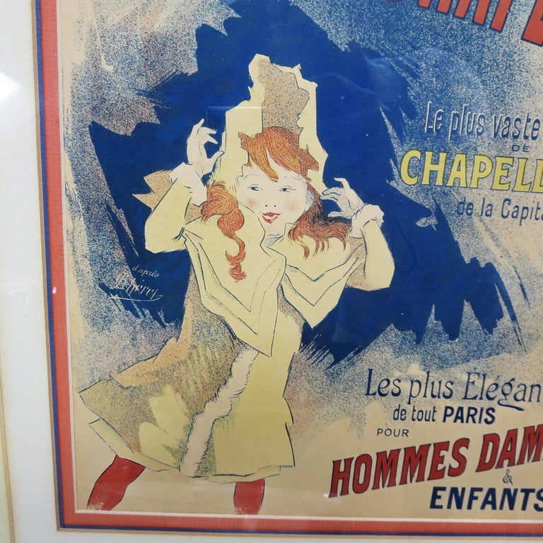 Late Victorian Halle Aux Chapeaux Framed Poster by Jules Cheret 1895 For Sale