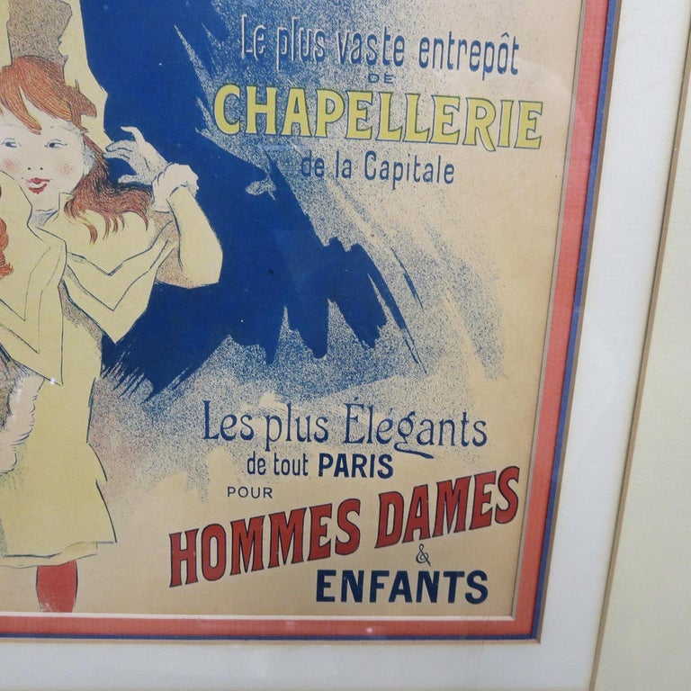 French Halle Aux Chapeaux Framed Poster by Jules Cheret 1895 For Sale
