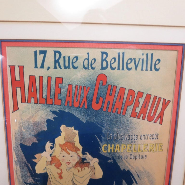 Halle Aux Chapeaux Framed Poster by Jules Cheret 1895 In Good Condition For Sale In North Hollywood, CA