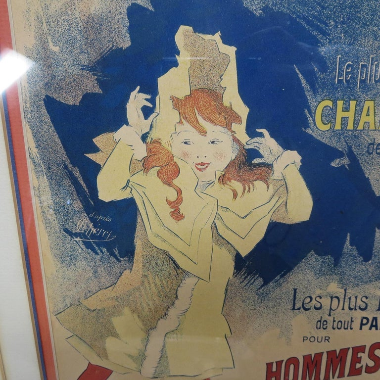 Late 19th Century Halle Aux Chapeaux Framed Poster by Jules Cheret 1895 For Sale