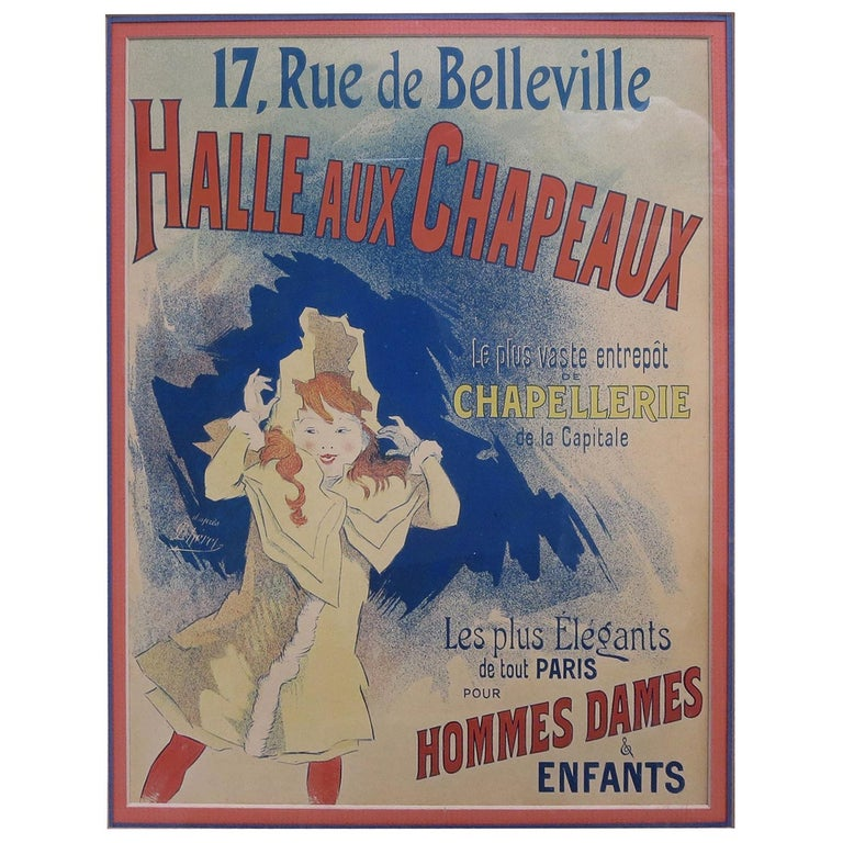 Halle Aux Chapeaux Framed Poster by Jules Cheret 1895 For Sale