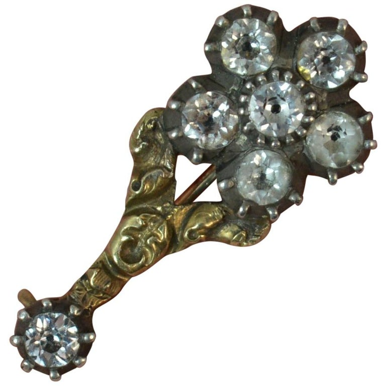 Halley's Comet 12 Carat Yellow Gold and Paste Brooch