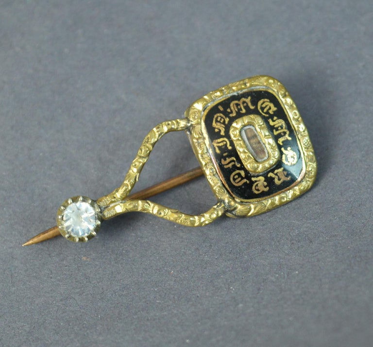 Halley's Comet Mourning in Memory of Enamel Gold Filled Brooch For Sale 1