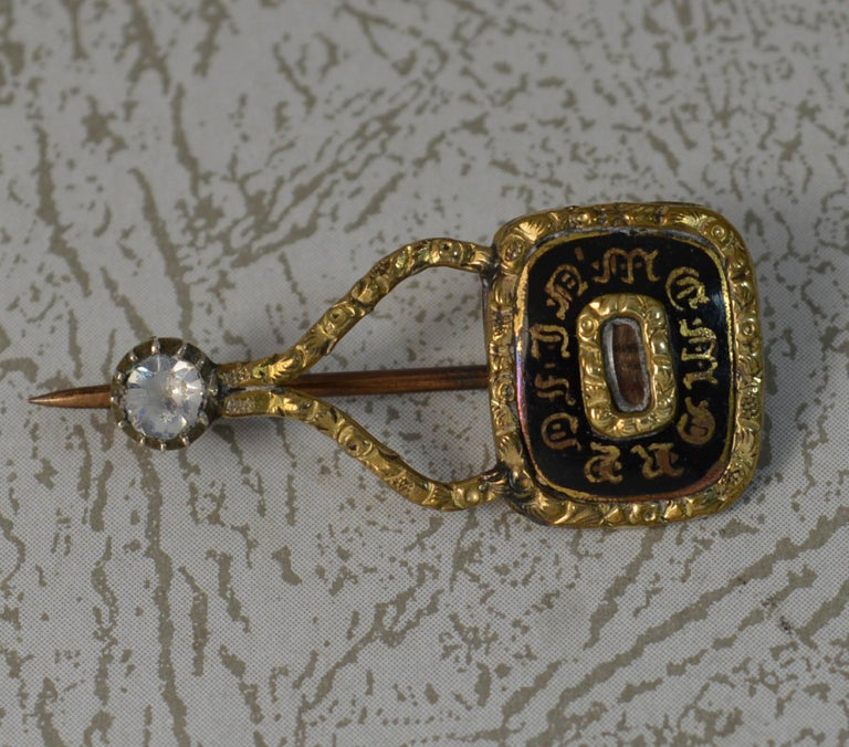 Halley's Comet Mourning in Memory of Enamel Gold Filled Brooch For Sale 2