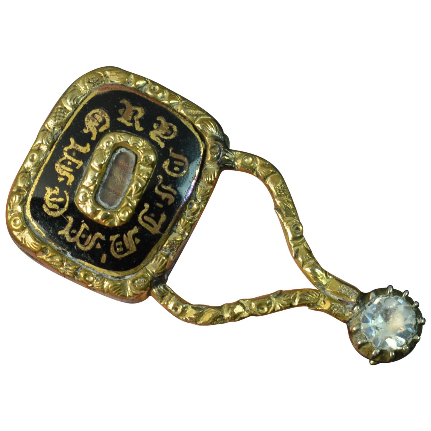 Halley's Comet Mourning in Memory of Enamel Gold Filled Brooch