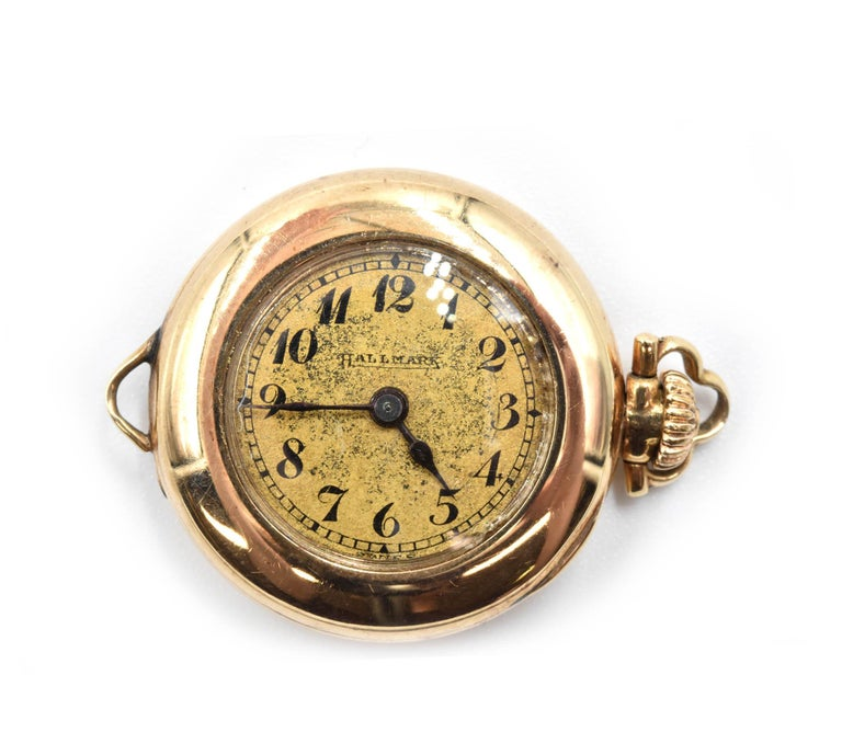 Hallmark yellow gold Vintage mechanical wind Pocket Watch  In Excellent Condition For Sale In Scottsdale, AZ