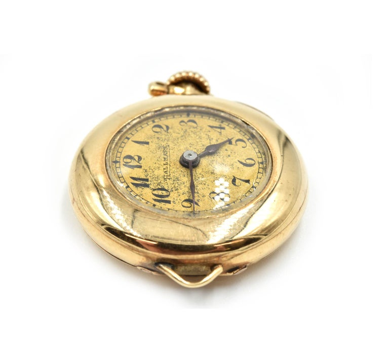Women's or Men's Hallmark yellow gold Vintage mechanical wind Pocket Watch  For Sale