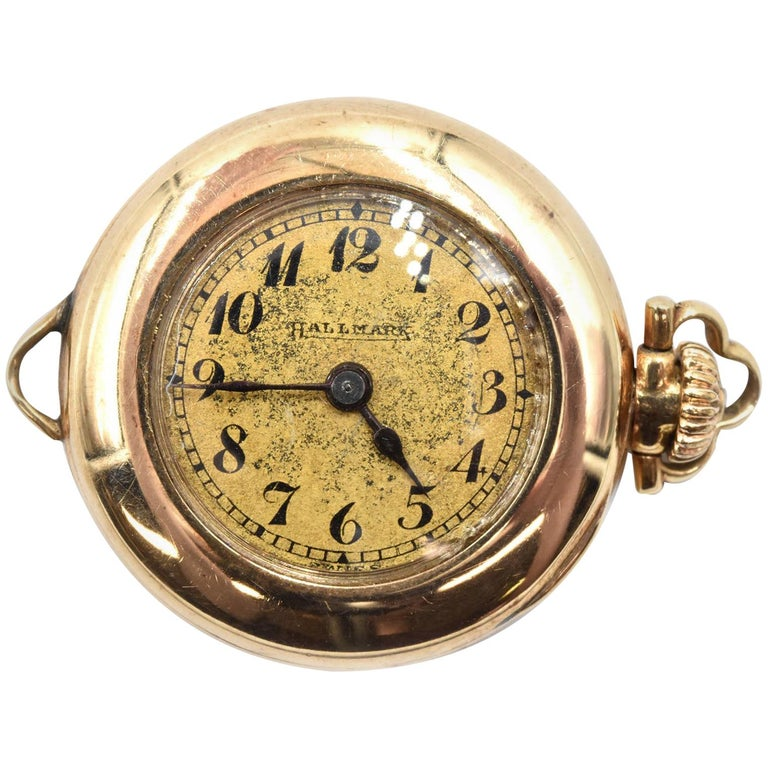 Hallmark yellow gold Vintage mechanical wind Pocket Watch  For Sale