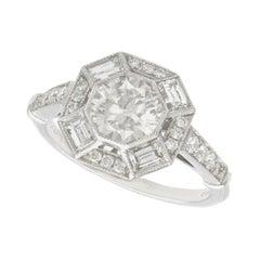 Hallmarked 1.79 Carat Diamond and Platinum Cocktail Ring