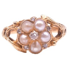 Hallmarked 1864 Pearl and Diamond Forget Me Not Ring with Serpent Shoulders