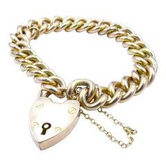 Hallmarked, Art Deco Period, 9k Yellow Gold, Curb Link Chain Bracelet