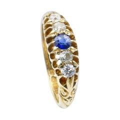 Hallmarked Edwardian 18k Sapphire & Diamond half Hoop Ring