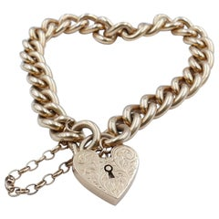 Hallmarked Large Size Vintage Rose Gold Curb Link Bracelet