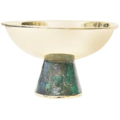 Hallmarked Mid-Century Modern Los Castillo Brass and Sodalite Tazza Bowl