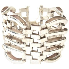 Hallmarked Sterling Silver Modernist Sculptural Cuff / Link Bracelet